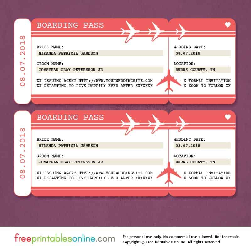 Red Boarding Pass Save The Date Template Free Printables Online - Boarding pass wedding invitation template