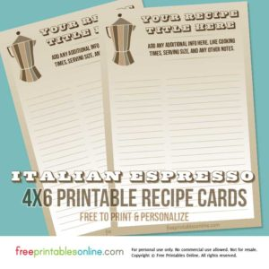 Italian Espresso Coffee Recipe Cards