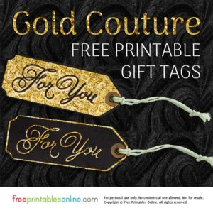 Gold Couture For You Printable Gift Tags