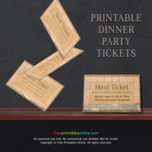 Vintage Paper Printable Meal Ticket Template