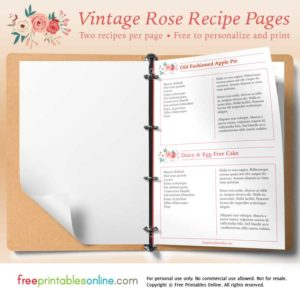 Rose Printable Vintage Recipe Pages