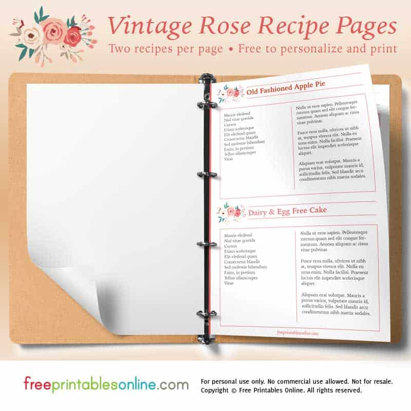 photograph regarding Printable Recipe Pages identify Rose Printable Classic Recipe Web pages Absolutely free Printables On-line