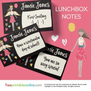 Angel Girl Printable Lunchbox Notes