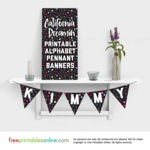 California Dreamin' Alphabet Printable Pennant Banner