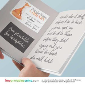 Cute First Library Free Baby shower Bookplate