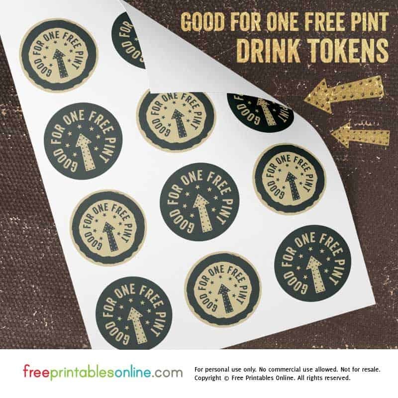 Printable Free Pint Tokens