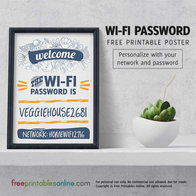 Personalized Wifi Password Poster