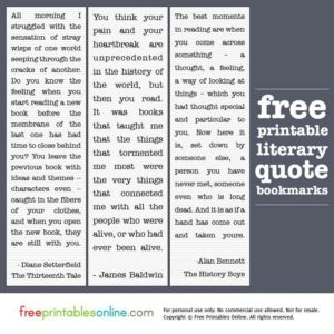Printable Literary Quotes Bookmarks