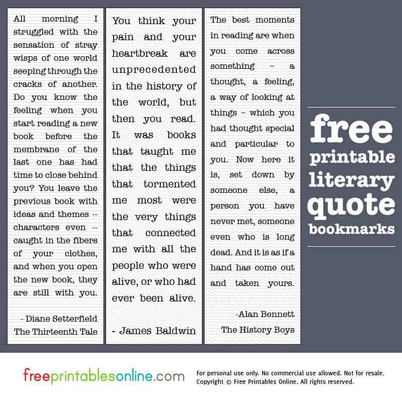 graphic about Free Printable Bookmarks With Quotes identify Printable Literary Quotations Bookmarks - Cost-free Printables On-line