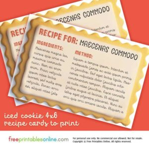 4×6 Iced Cookies Recipe Card