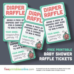 Ladybug Baby Shower Raffle Tickets, Printable & Free