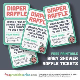 baby shower raffle tickets printable