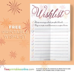 Starburst Printable Wishlist