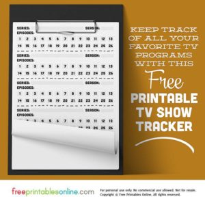 Printable TV Show Tracker