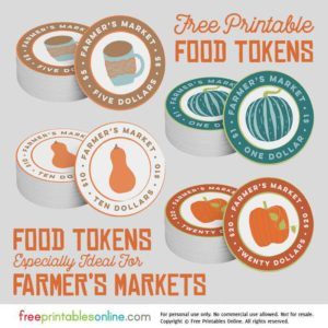 Printable Farmers' Market Food Tokens