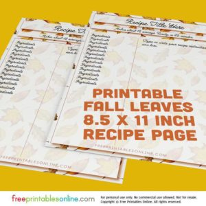 Fall Leaves 8 x 11.5 Inch Recipe Page Template
