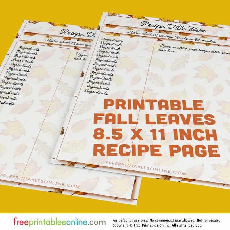 8 x 11.5 Inch Recipe Page