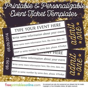 Admit One Gold Event Ticket Template