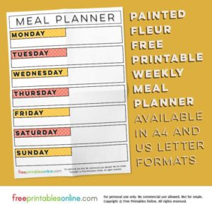 Painted Fleur Printable Weekly Meal Planner