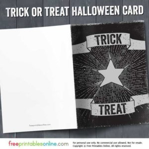 Printable Trick or Treat Halloween Card