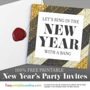 Confetti Chevron Gold Free New Year's Eve Invitations