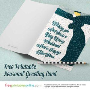 Flurries & Winter Wishes Printable Vintage Christmas Card