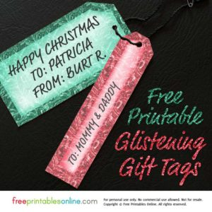 Glistening Red & Green Printable Christmas Gift Tags Template