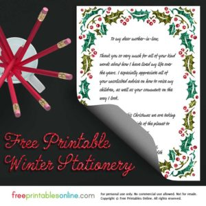 Lustrous Holly Printable Christmas Stationery