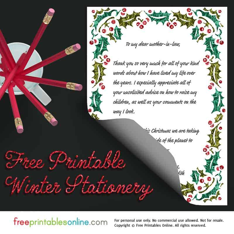Holly Printable Christmas Stationery