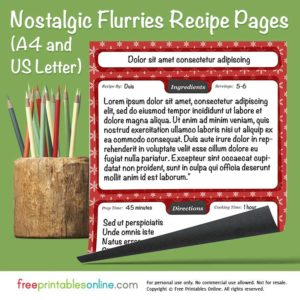 Nostalgic Flurries Printable Holiday Recipes Template