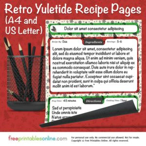 Retro Yuletide Printable Christmas Recipe Pages