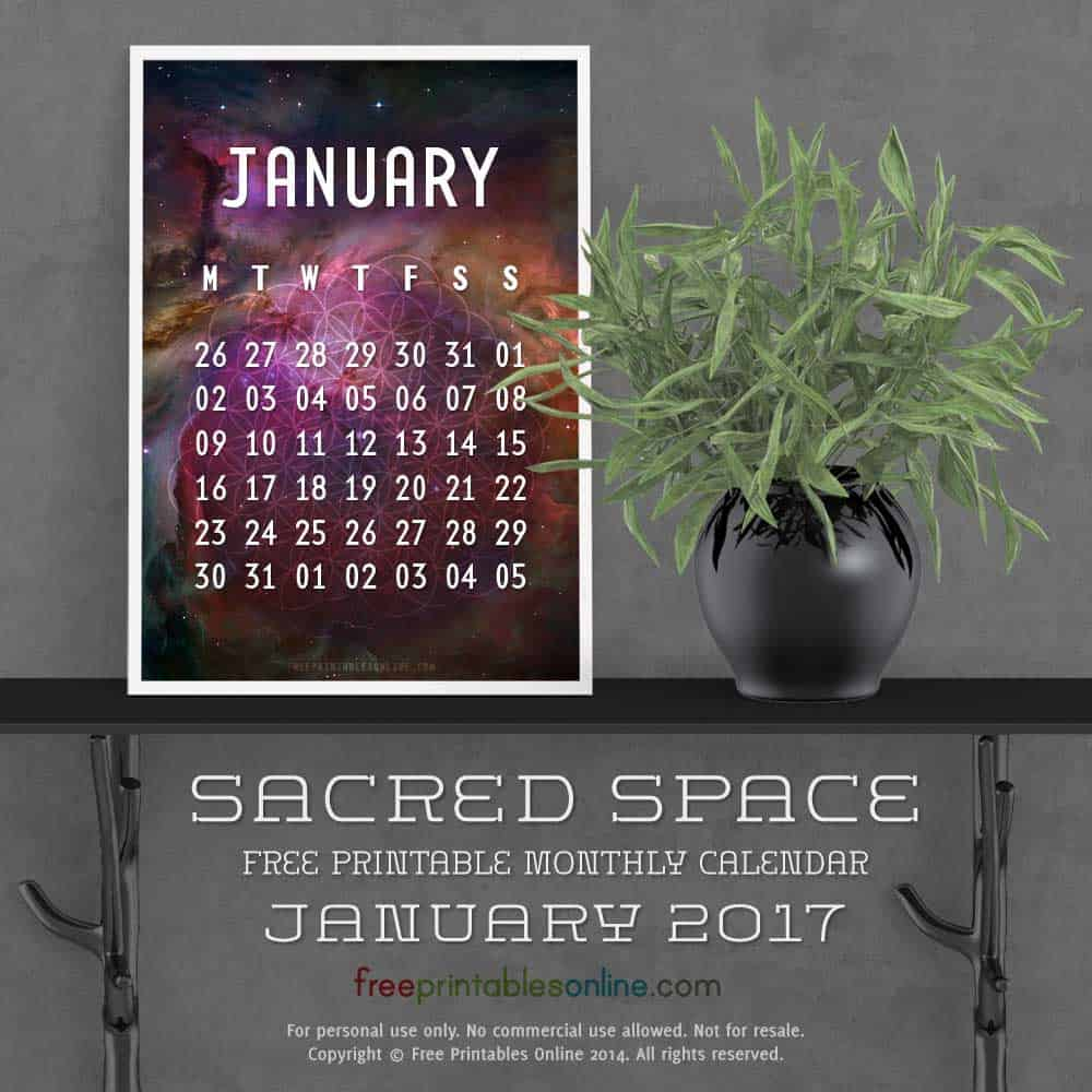 Outer Space January 2017 Calendar