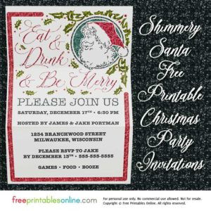 Eat, Drink, and Be Merry Christmas Party Invitation