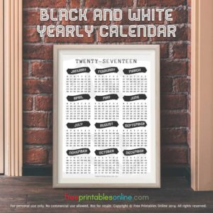 Simple Black and White 2017 Yearly Calendar