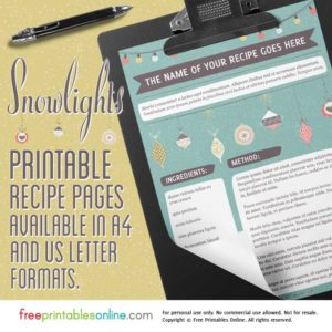 Snowlights Seasonal Recipe pdf Template (Full Page)