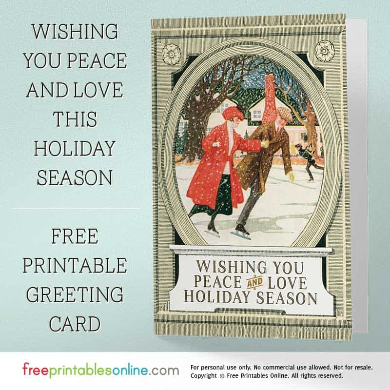 Printable Peace and Love Holiday Cards