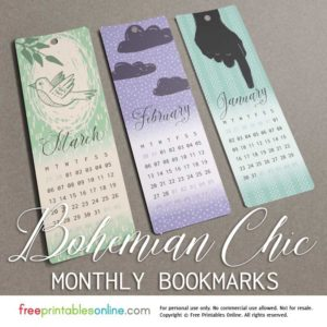 Wintertime Bohemian Chic Monthly Bookmarks for January, February, and March