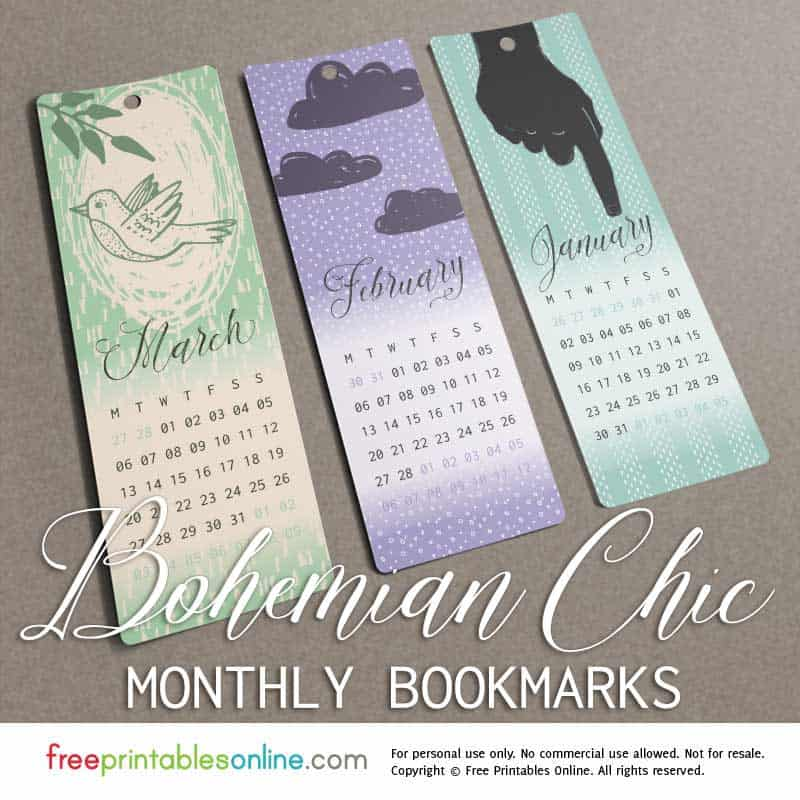 Wintertime Bohemian Chic Monthly Bookmarks