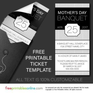 free printable banquet tickets