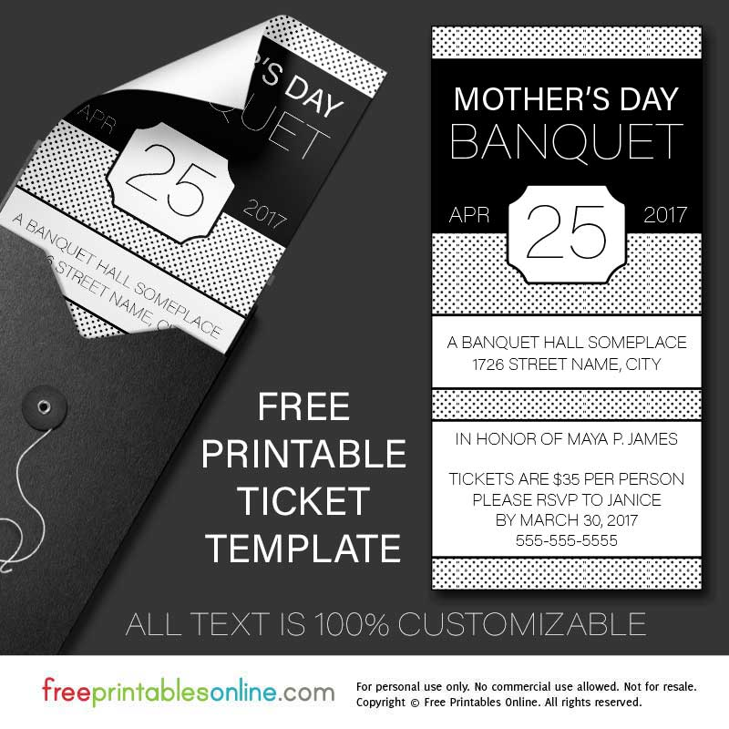 free printable banquet ticket template free printables online