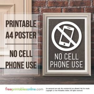 Printable No Cell Phone Use Sign