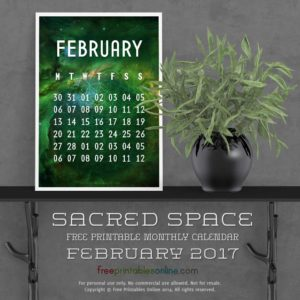 Sacred Outer Space February 2017 Calendar