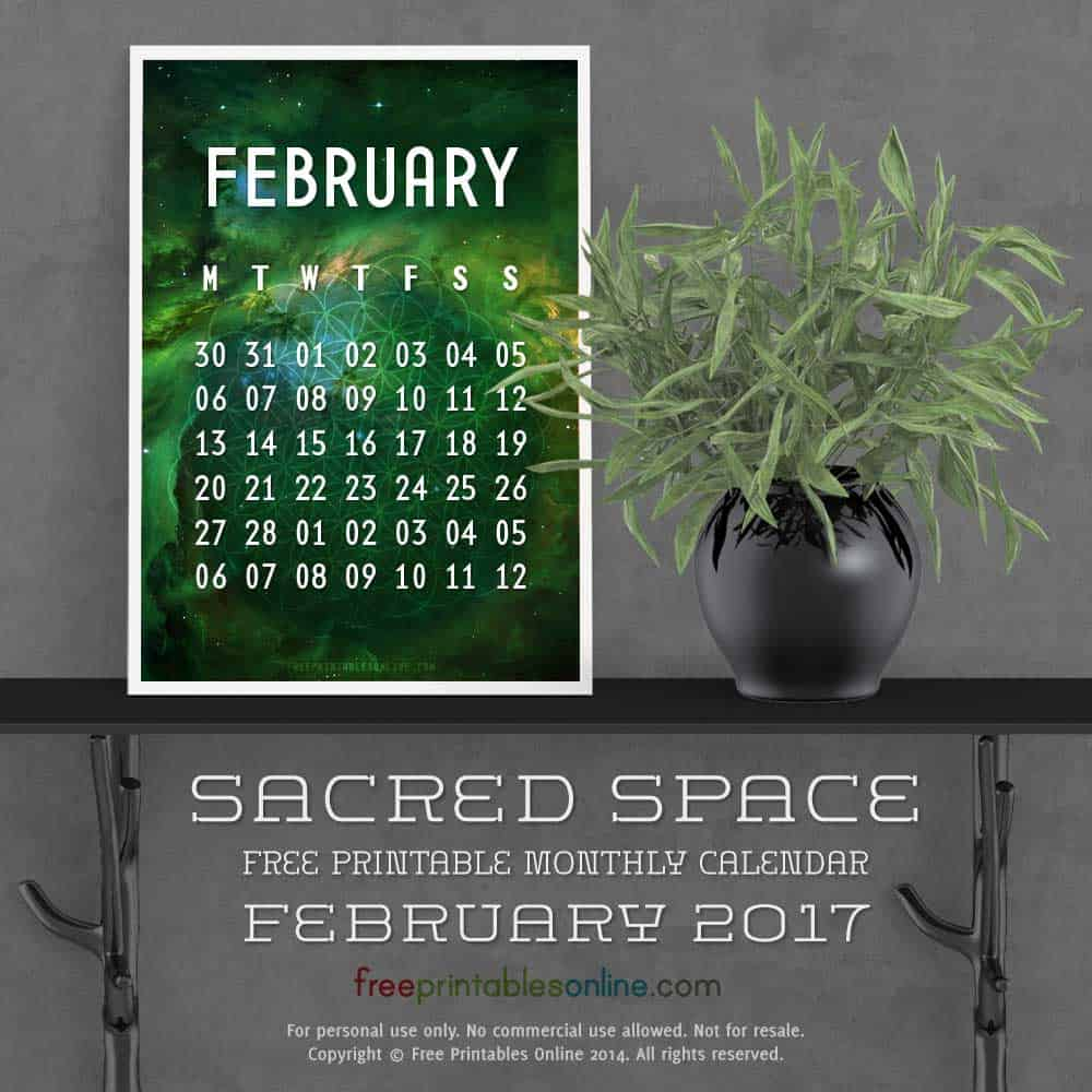Outer Space February 2017 Calendar