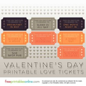 2017 Printable Valentine's Day Love Tickets