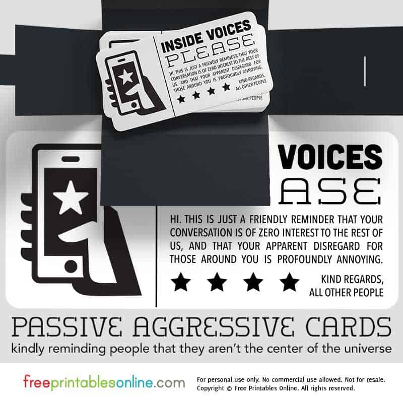 Passive Aggressive Inside Voices Card