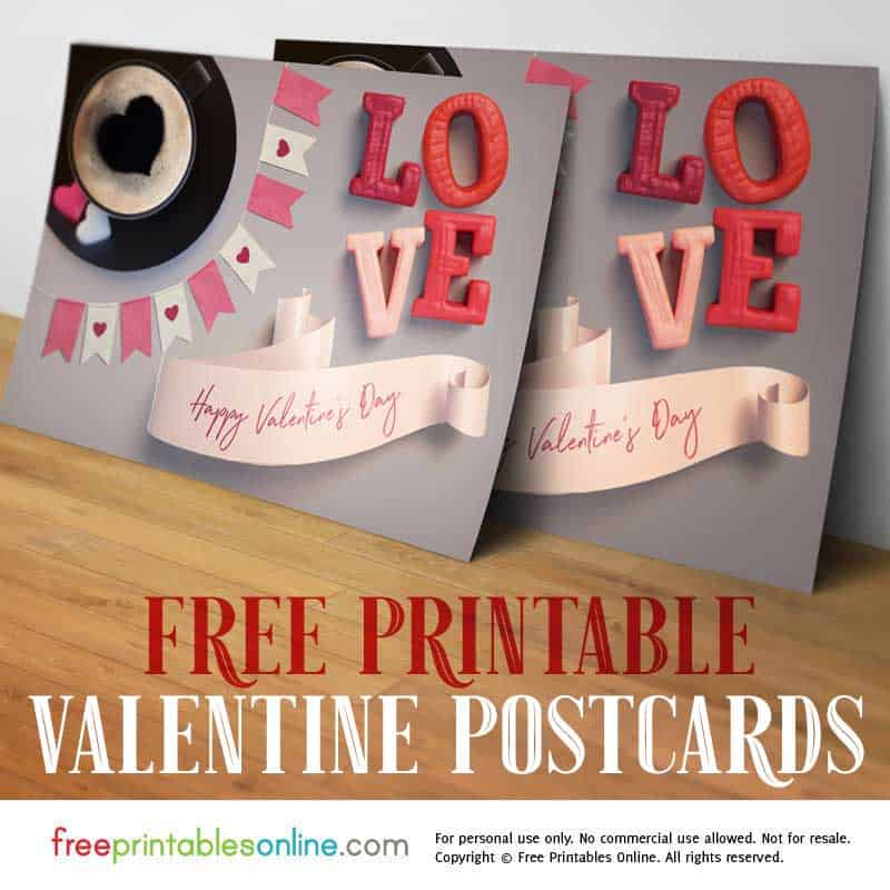 photograph regarding Happy Valentines Day Banner Printable known as Printable Postcard for Valentines Working day - Totally free Printables On-line