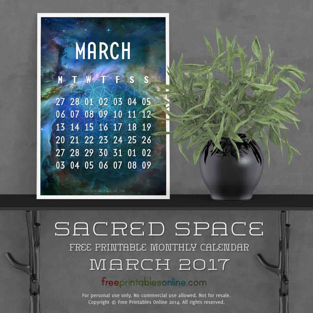 Outer Space March 2017 Calendar