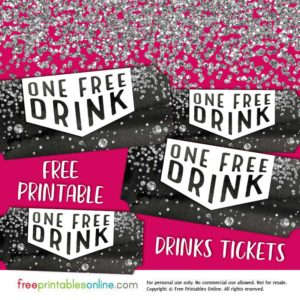 Silver Confetti Free Drink Ticket