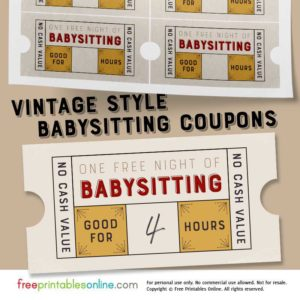 Vintage Style Free Babysitting Coupon Template
