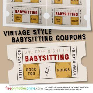 printable free babysitting coupon template